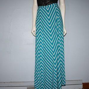 Aqua Blue and white chevron maxi skirt L